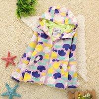 Wholesale 2015 Kids Baby Girls Spring Autumn Wind Coat Hooded Purple Little Flower Fashion Wind Coat Full Length Sleeve Wind Coat