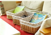 easter baskets - set of small wicker picnic laundry clothes basket easter basket