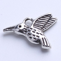 animal charms - 2015 DIY Antique Silver Copper Bird Pendant Fit Bracelets Necklace Vintage Charms Metal Jewelry Making w