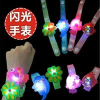 South American american wrist watch - Luminous flashlight in hand wrist watch band with flash cartoon bracelet stall supply LED toys