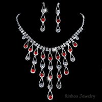 Wholesale Silver plated Bridal Wedding necklace and earring Jewelry Sets Women Jewellery Vintage Crystal Pendant Accessories Fashion