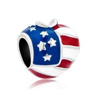 america patriotic - Metal Jewelry America Usa Flag Heart Love Charms Enamel European Flag Bead Fits for Fashion Women Bracelets