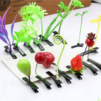asian vegetables - The head of the grass hairpin mushroom vegetable sprouts top clamp funny grass hairpin act loving artifact plants blossom headdress