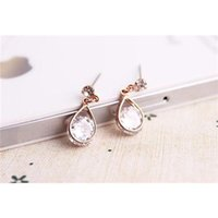 Wholesale Fashion Crystal Ear Dangle dangling earrings dangling earrings Rose pearl earrings Gold Plated Alloy Earring
