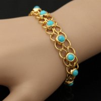 agate bangle - Turquoise Bracelets Bangles Quality K Real Gold Plated Blue Turkey Stone Link Chain Bracelets Women Jewelry H341