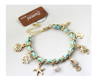 beautiful conch shell - Ocean series freeshipping Super beautiful Ocean series conch shells hippocampus starfish anchor chain bracelet for female gift
