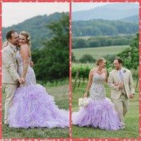 2015 Modest Sweetheart bordado de encaje Appliques Sirena vestidos de novia Natural Slim Ruffles capilla tren vestidos de novia Luz Purple Vestido