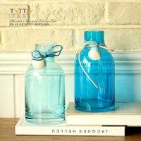 Wholesale Fashionable shell transparent blue vase ocean wind glass vase for home decoration flower vase