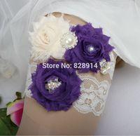 shabby flower trim - New Design Lace Trim Shabby Flower Wedding Garter for Bridal Garter made of Purple Shabby Flower Handmade brides garter