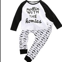 carter's bodysuit - 2015 New Baby Infant Kid Boys Bodysuit Clothes Homie Print letter T shirt Moustache Pants Outfits Sets sets