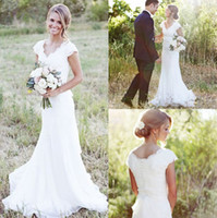 Wholesale 2017 Simple Country Wedding Dresses A Line V Neck Lace Chiffon Short Sleeve Sweep Train Cheap Bridal Gowns Custom Made