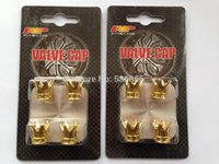 Wholesale 2015 new arrive high quality novelty crown car wheel tire valve cap gold chrome plated blister card package sets