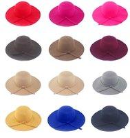 Wholesale Wool Felt Bowler Fedora Hat Retro Vintage Women Lady Cloches Sunhat Soft Wide Brim Autumn Winter Pure Color Woolen Caps
