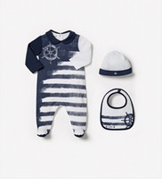 Wholesale 2015 New Style Price Long Sleeve Stripe Romper Hat Bib Pieces Children Clothing With High Quality Cotton
