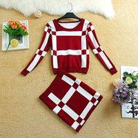 ladies skirt suits - Red Blue Black Women Slim Sets Suit Crochet Grid Plaid Tops Mini Skirt Causal Suits For Big Children Lady Ladies Clothing Girls K2667