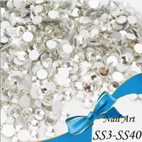 Wholesale top quality SS3 SS40 CRYSTAL CLEAR crystal white glue on silver plated flatback crystal rhinestone for beauty