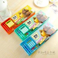 belt calculator - Advanced stationery box plastic pencil box multifunctional pencil case belt abacus calculator stone