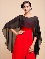 Wholesale Shawls For Gowns - 2015 Black Bridal Wrap Hi Low Wedding Party gowns Chiffon Shawl Mother's dress Bolero for evening dress More Color Custom made