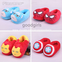 america slippers - Super Heroes Cantain America Iron Man Spider man Iron Man Plush Shoes Home House Winter Slippers for Children ANSE024