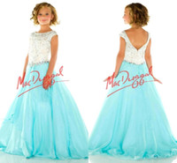 Wholesale 2016 New Sparky Girls Pageant Dresses Beaded Crystal Top Cap Sleeves Little Flower Girl Formal Dresses Tulle Floor Length Kids Formal Wear