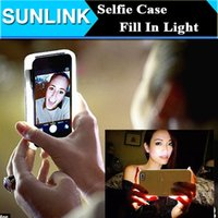 Wholesale Illuminated Cell Phone Case LED Light Fill In Selfie Back Cover for iPhone s Plus s Samsung Galaxy S7 S6 Shining Protective Shell