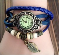 Wholesale SGpost High Quality Women Genuine Leather Vine Watch Leaf Pendant bracelet Wristwatches For Xmas Gift jewelry