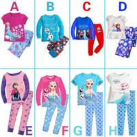 fashion pajamas - Colorful Frozen Kids Pajamas Fashion Cotton Childrens Sleepwear for Little Girls Round Neckline Design Hot Sale F303
