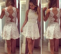 Casual Dresses club dresses - New Send pearl necklaces White sleeveless hollow out Casual Backless lace Dress For spring summer Sexy women party club mini dresses