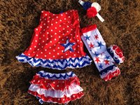 kids leg warmer - baby girls kids th of July patriotic swing top set swing outfits with matching leg warmer and headband set