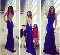 Cheap Elegant Royal Blue Mermaid Evening Dress Scoop Neckline Sleeveless Backless Appliques Sequins Beads Peplum Sweep Train Formal Prom Dress