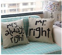 pillow cover - Mr Right and Mrs Always Right Linen Car Home Accesorries Cushion Covers Pillow Cases Pillow cover