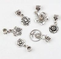 flower bracelet - 19Styles Tibetan Silver Flowers Dangle Big Hole Beads Fit European Pandora Charm Bracelet Jewelry DIY