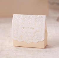 cardboard gift boxes - 80 mm Candy Box Hollow Out Cardboard Paper Beige Wedding Boxes Gift Box