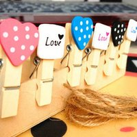 Wholesale 12Pcs Mini Heart Love Wooden Peg Clothes Photo Paper Clothespin Craft Clips Party Decor