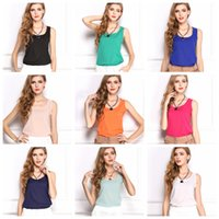 Wholesale 2015 New Arrival Cheapest Fashion Women Basic Chiffon Sleeless Shirt Blouse Tanks Tops Brand New Candy Colors Available