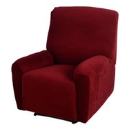 Wholesale High Quality One Seater Recliner Cover Elastic Soft Polyester Spandex Recliner slipcover Brown Red Office Chair Cover H15540