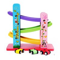 Wholesale Preschool three four track slide glide vehicle car toy cars for children years old wooden building blocks
