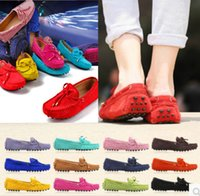 Wholesale Womens casual Slips Peas Loafers shoes frosted leather driving Moccasins Shoes