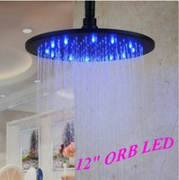 """Cheap Ceiling Mounted 12"""" LED Rainfall Shower Head Oil Rubbed Bronze Overhead Shower"""