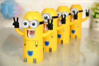 Wholesale New style Cute Despicable Me Minions Design Set Cartoon Toothbrush Holder Automatic Toothpaste Dispenser