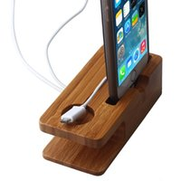 bamboo cord - of Bamboo Desktop Display Stand Holder Charger Cord Docking Station For Apple Watch iPhone S in Organizer