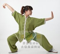 Wholesale Tai chi clothing clothes summer blockbuster high elastic hemp green short sleeved men and women Wushu clothing costumes