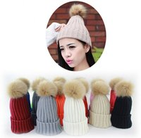 Wholesale Winter Fashion Beanie Classic Tight Knitted Fur Pom Poms Hat Women Cap Winter Beanie Headgear Headdress Head Warmer
