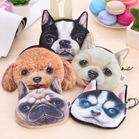 Cheap 3D Printer short plush puppy dog person fabric purse clutch purse coin purses wallets handbags , zipper coin purse 5 style