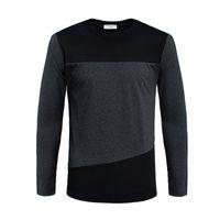 Wholesale Mens T Shirts Fashion Long Sleeve T shirt Color Block Decoration T Shirt Casual Slim Fit Tee