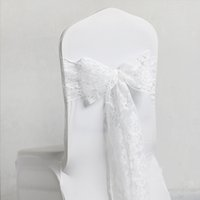 banquet good chair covers - Good Quality New White Lace Chair Covers Sash Bows cm Wedding Banquet Seatback Yarn For Party Supplies