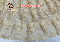 Wholesale french lace curtains indian fabric of NL10060gold