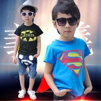 Wholesale baby cloth Halloween boys short sleeve t shirt Children superman batman tops Kids Summer garment
