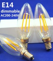 Wholesale 10pcs NEW filament led bulb E14 W W dimmable chandelier LED CE ROHS V V V filament candle Light bulb lamps