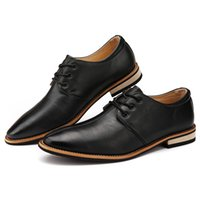 leather shoes italian men - Simple Brief Italian Fashion Mens Quality Leather Dress Shoes Mens Oxfords Business Party Shoes Elegant British Style Sewing Lace Up Trendy
